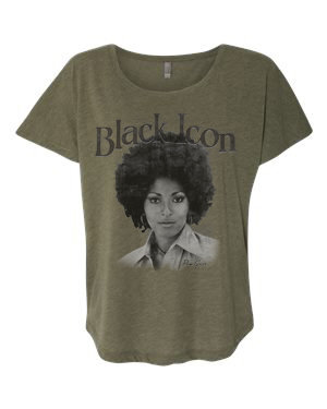 1e90c122 Pam Grier Black Icon T-Shirt | Black Blue Printz